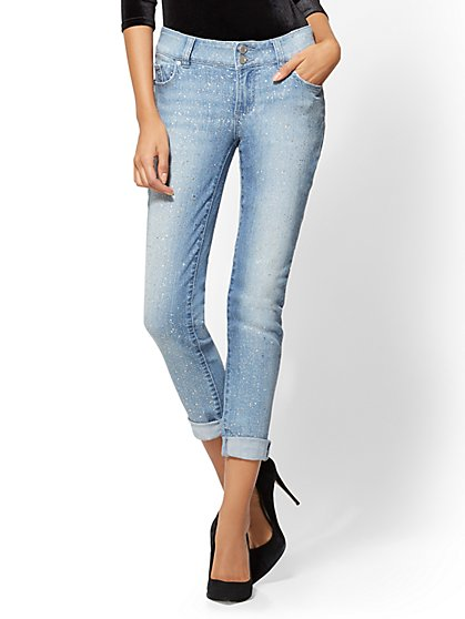 Soho Jeans - Boyfriend - All-Over Glitter - Blue Dazzler Wash - New York & Company
