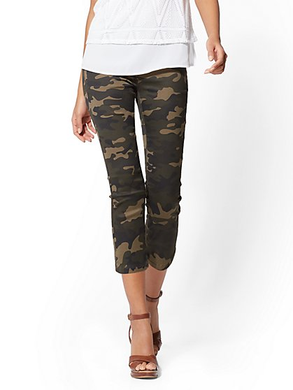 Soho Jeans - Camo High-Waist Pull-On Crop Legging - New York & Company