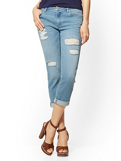 Soho Jeans - Curvy Crop Boyfriend - Blue Valley Wash - New York & Company