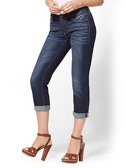 Soho Jeans - Curvy Crop Boyfriend - Deep End Blue Wash - New York & Company