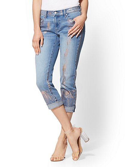 Soho Jeans - Curvy Crop Boyfriend - Vibrant Blue Wash - New York & Company