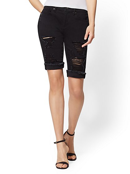 Soho Jeans - Destroyed 10 Inch Bowery Boyfriend Bermuda Short - Black - New York & Company