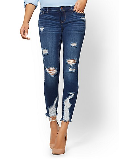 Soho Jeans - Destroyed Ankle Jean - Force Blue - New York & Company