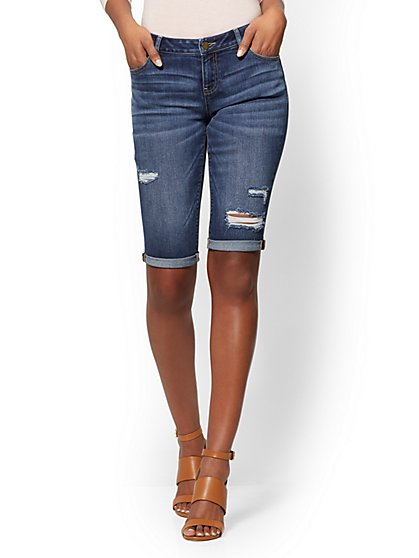 Soho Jeans - Destroyed Bowery Curvy 13 Inch Bermuda - Blue Honey Wash - New York & Company