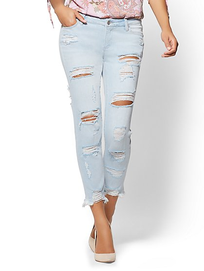 Soho Jeans - Destroyed Boyfriend - Ice Baby Blue Wash - New York & Company