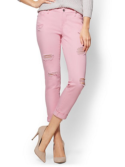 Soho Jeans - Destroyed Boyfriend - Pink - New York & Company