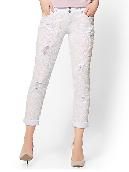 Soho Jeans - Destroyed Boyfriend - Sequin - White - New York & Company