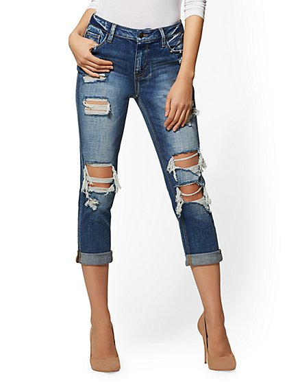 Soho Jeans Destroyed Crop High-Waist Boyfriend - Indigo - New York & Company