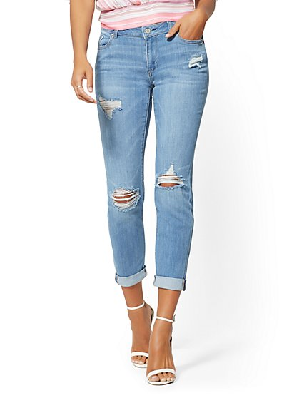 Soho Jeans - Destroyed Curvy Boyfriend - Blue - New York & Company