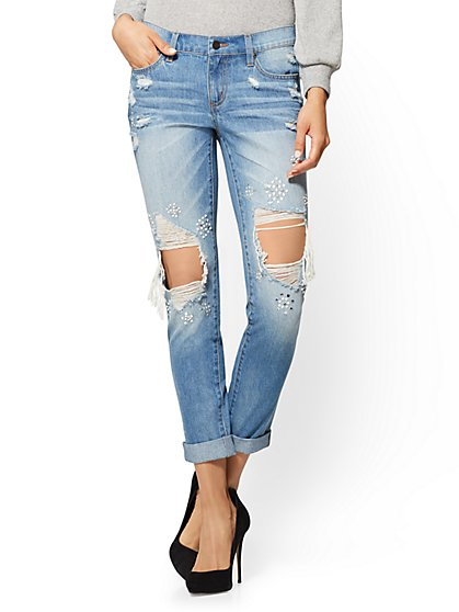 Soho Jeans - Destroyed & Embellished Boyfriend - Medium Blue Wash - New York & Company