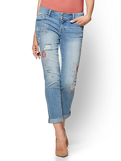 Soho Jeans - Destroyed & Embroidered Boyfriend - Blue Rays Wash - New York & Company