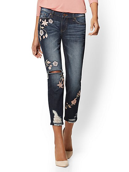 Soho Jeans - Destroyed & Embroidered Boyfriend - Deep End Blue - New York & Company