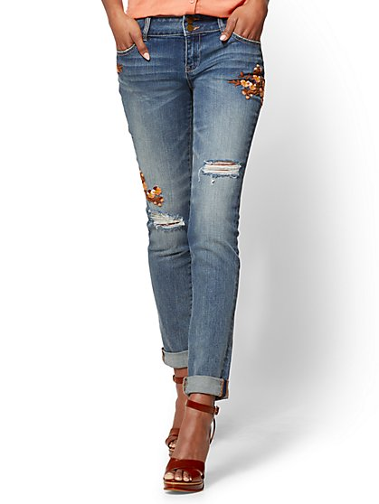 Soho Jeans - Destroyed & Embroidered Curvy Boyfriend - Mysterious Blue Wash - New York & Company