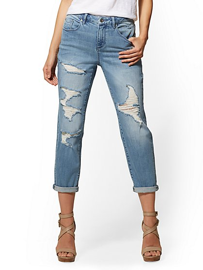 Soho Jeans - Destroyed High-Waist Mom Jean - Blue Valley - New York & Company
