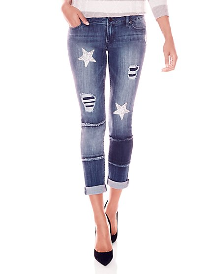 Soho Jeans - Destroyed & Metallic Star Boyfriend Jean - New York & Company