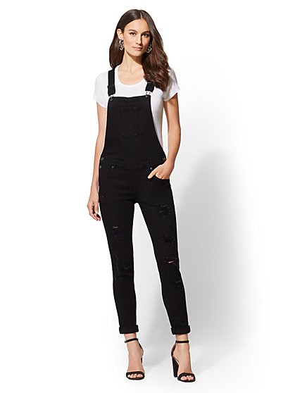 Soho Jeans - Destroyed Overall - Black - New York & Company