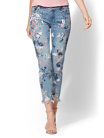 Soho Jeans - Destroyed Paint-Splattered Boyfriend Jean - Daylight Blue Wash - New York & Company