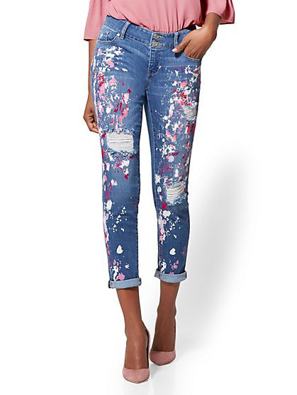 Soho Jeans - Destroyed & Painted Boyfriend - Sunset Blue Wash - New York & Company