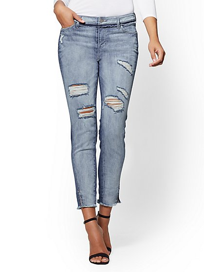 Soho Jeans - Destroyed Two-Tone High-Waist Boyfriend - Moody Blue Wash - New York & Company