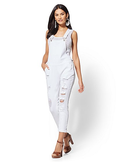 Soho Jeans - Destroyed White Overall - New York & Company