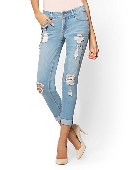Soho Jeans - Embellished Destroyed Boyfriend - Medium Blue - New York & Company