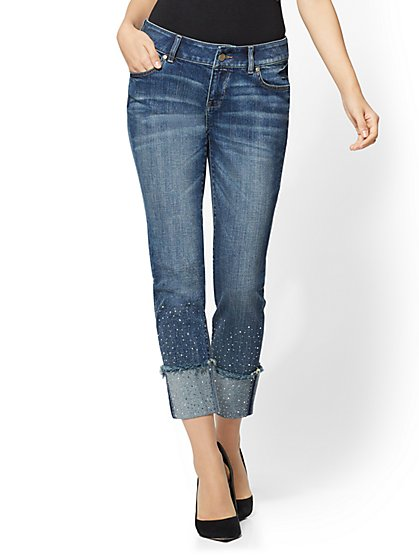 Soho Jeans - Embellished Extreme-Cuff Boyfriend - Fancy Blue Wash - New York & Company