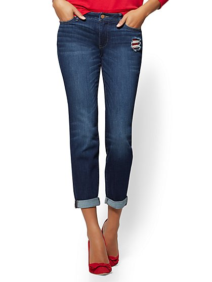 Soho Jeans - Embroidered & Destroyed Curvy Boyfriend - Blueberry Wash - New York & Company