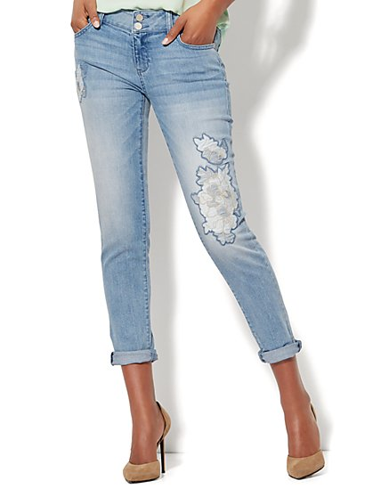 Soho Jeans - Floral Appliqué Boyfriend Jean - Blue Wish - New York & Company
