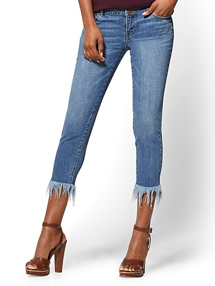 Soho Jeans - Frayed-Hem Boyfriend - Blue Chaos Wash - New York & Company