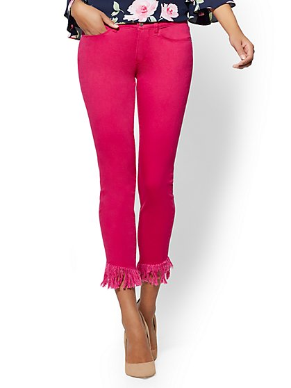 Soho Jeans - Fuchsia Fringed Ankle Legging - New York & Company