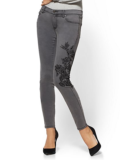 Soho Jeans - Grey Embroidered Skinny Legging - New York & Company