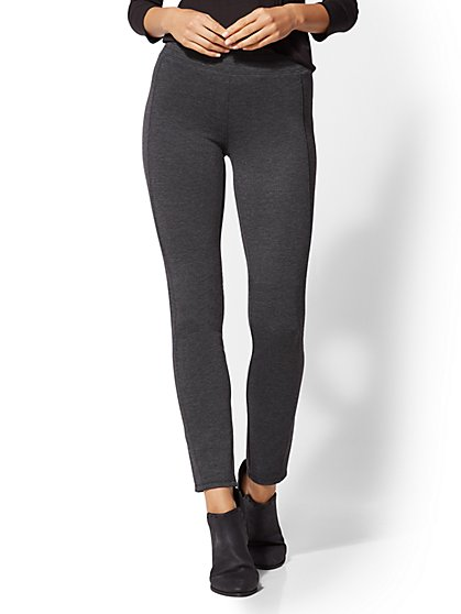 Soho Jeans - Grey High-Waist Ponte Pull-On Pant - New York & Company