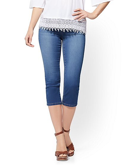 Soho Jeans - High-Waist Pull-On Crop Legging - Laguna Blue Wash - New York & Company
