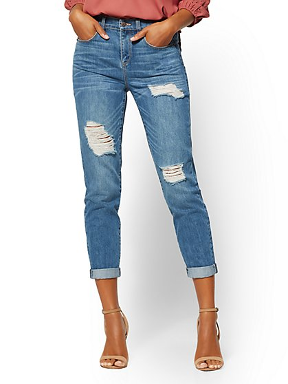 Soho Jeans - High-Waist Retro Mom Jean - Indigo Blue - New York & Company