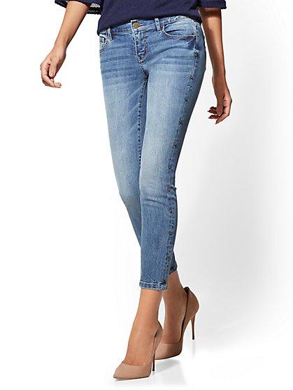 Soho Jeans - Jewel Studded Ankle - Blue Print Wash - New York & Company