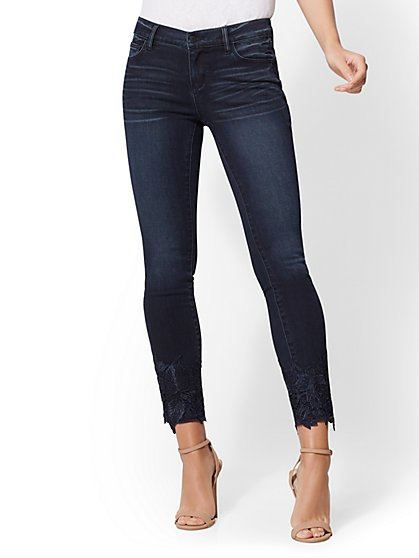 Soho Jeans - Lace-Hem Ankle Legging - Indigo - New York & Company