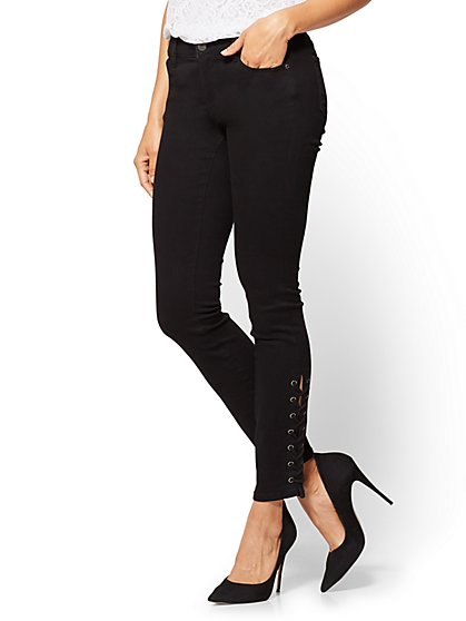 Soho Jeans - Lace-Up Legging - Black - New York & Company