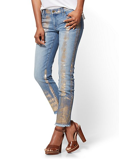 Soho Jeans Metallic-Foil Boyfriend - New York & Company