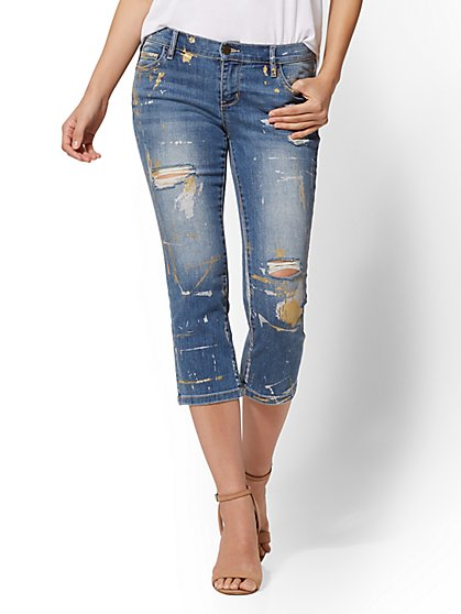 Soho Jeans - Metallic Paint-Splattered Crop Legging - New York & Company