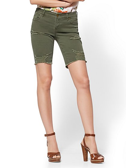 Soho Jeans - Olive Destroyed Bowery 9-Inch Short - New York & Company