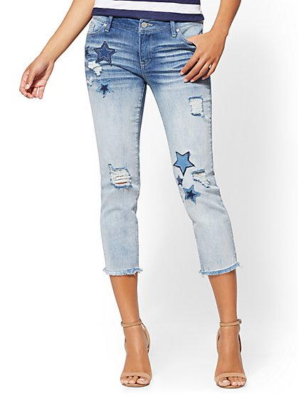 Soho Jeans - Patchwork Crop Boyfriend - New York & Company