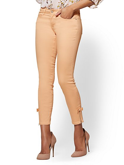 Soho Jeans - Peach Zip-Accent Bow-Detail Ankle Legging - New York & Company