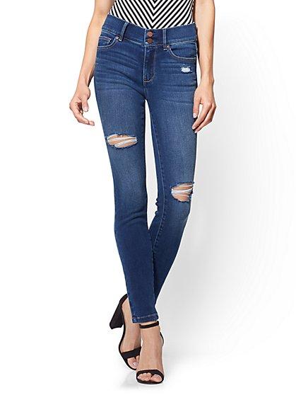 Soho Jeans - Petite Destroyed High-Waist Legging - Force Blue Wash - New York & Company