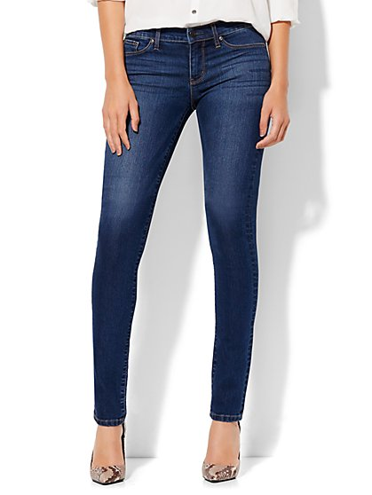 Soho Jeans - Petite Mid Rise Skinny Legging - Force Blue Wash - New York & Company