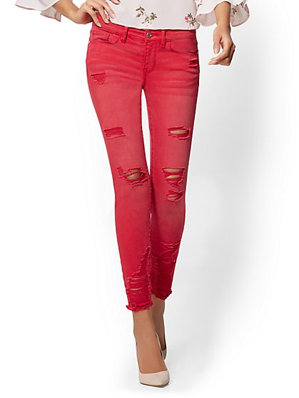 Soho Jeans - Red Destroyed Ankle - New York & Company