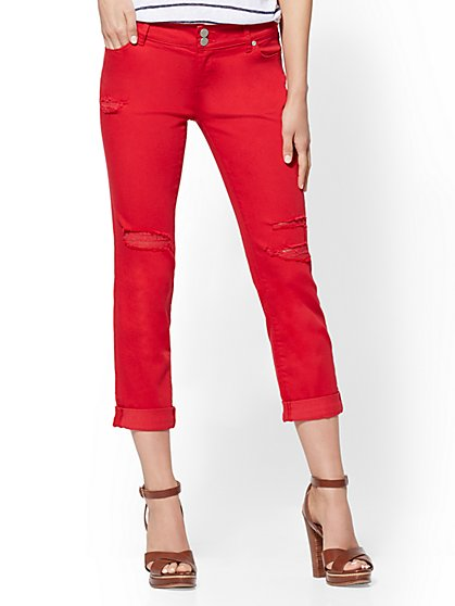 Soho Jeans - Red Destroyed Crop Boyfriend - New York & Company