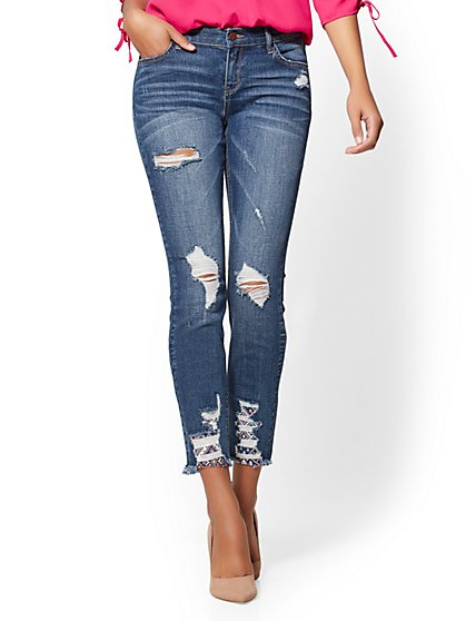 Soho Jeans - Rip N' Repair Ankle Legging - Indigo - New York & Company