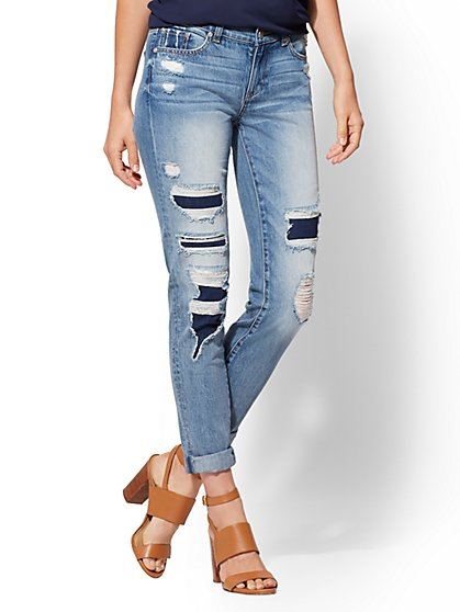 Soho Jeans - Rip & Repair Boyfriend - Indigo Blue - New York & Company