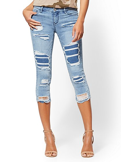 Soho Jeans - Rip & Repair Crop Legging - Blue Slash Wash - New York & Company