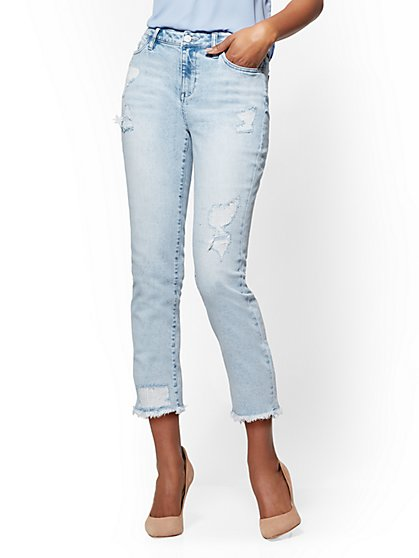 Soho Jeans - Rip & Repair High-Waist Crop Boyfriend - Blue Premier Wash - New York & Company